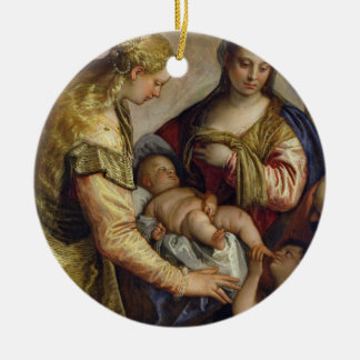 The Holy Family with St. Barbara, c.1550 (oil on c Round Ceramic Decoration