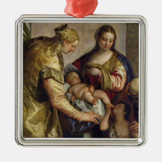 The Holy Family with St. Barbara, c.1550 (oil on c Silver-Colored Square Decoration