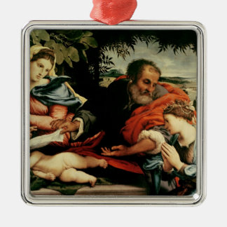 The Holy Family with St. Catherine of Silver-Colored Square Decoration