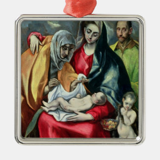 The Holy Family with St.Elizabeth, 1580-85 Silver-Colored Square Decoration