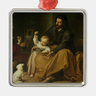 The Holy Family with the Little Bird, c.1650 Silver-Colored Square Decoration