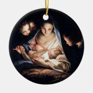 The Holy Night - Christmas tree round decor Ceramic Ornament