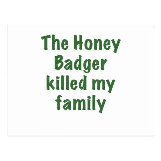 The Honey Badger Killed My Family Postcard