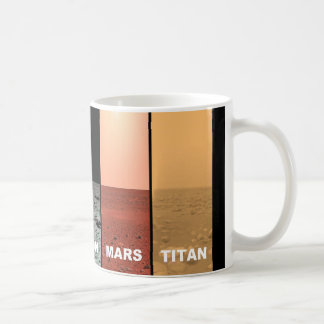 The horizons of Venus Earth Moon Mars and Titan Coffee Mug