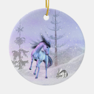 The horse and rabbit winter ornament