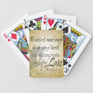 The Horse is made ready Proverbs 21:31 Scripture Bicycle Playing Cards