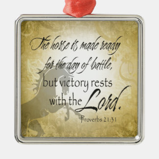 The Horse is made ready Proverbs 21:31 Scripture Silver-Colored Square Decoration