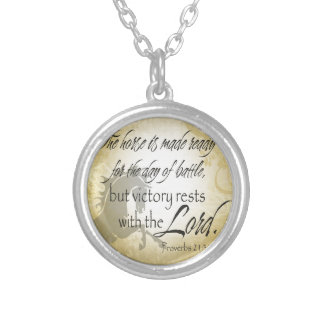 The Horse is made ready Proverbs 21:31 Scripture Silver Plated Necklace