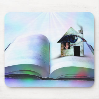 The house with an eye in open book mouse pad