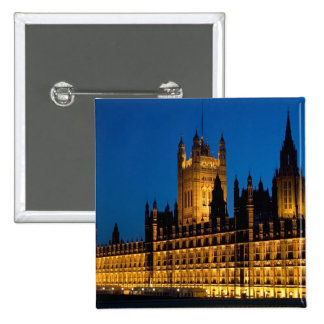 The Houses of Parliament at night in the city of 15 Cm Square Badge