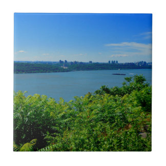 The Hudson River with NYC Small Square Tile