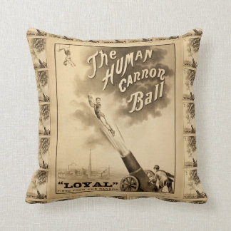 The Human Cannon Ball Vintage Circus Act Cushion