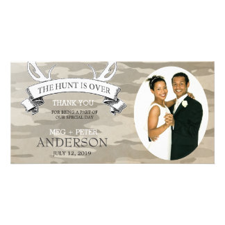 """The Hunt is Over"" Camo Wedding Photo Thank You Photo Greeting Card"