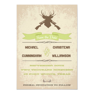 The Hunt Is Over Rustic Country Save The Date Card