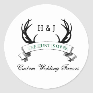"""The Hunt is Over"" Rustic Custom Wedding Favors Round Sticker"