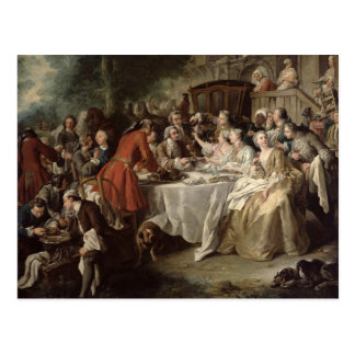 The Hunt Lunch, detail of the diners, 1737 Postcard