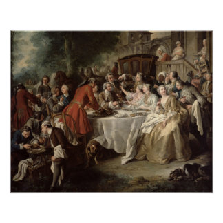 The Hunt Lunch, detail of the diners, 1737 Poster
