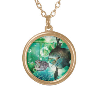 The hunter and hunted in the underwater world gold plated necklace