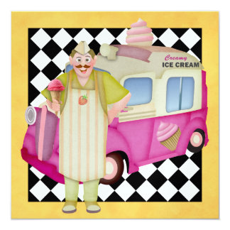 The Ice Cream Truck - SRF 5.25x5.25 Square Paper Invitation Card