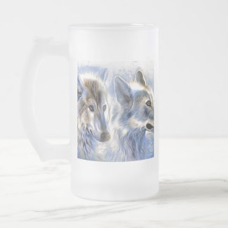 The Ice Wolf Frosted Glass Beer Mug