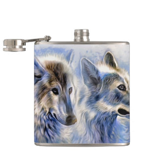 The Ice Wolf Hip Flask