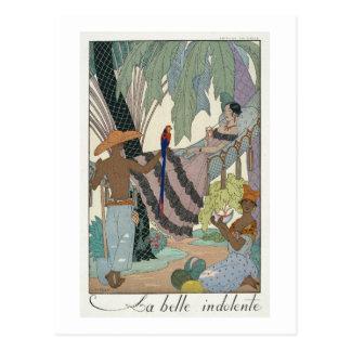 The idle beauty (pochoir print) postcard