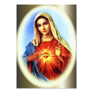 The Imacculate Heart of Blessed Virgin Mary 13 Cm X 18 Cm Invitation Card