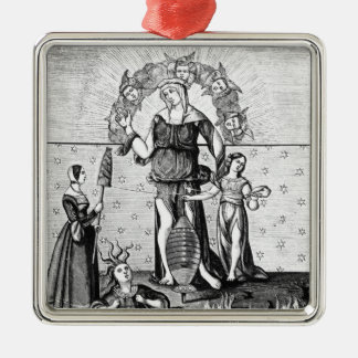 The Image of Dame Astrology with the Three Silver-Colored Square Decoration