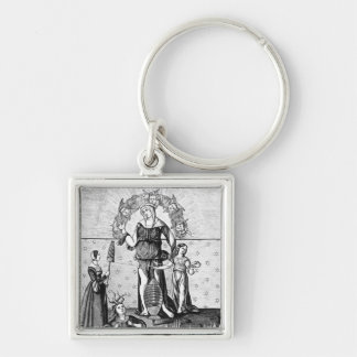 The Image of Dame Astrology with the Three Silver-Colored Square Key Ring
