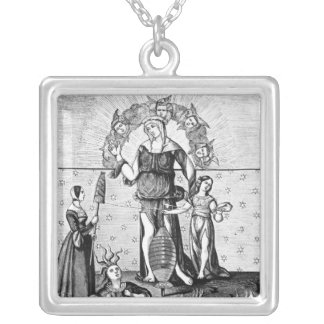 The Image of Dame Astrology with the Three Silver Plated Necklace