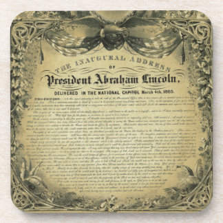 The Inaugural Address of President Abraham Lincoln Drink Coaster