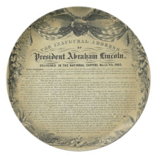 The Inaugural Address of President Abraham Lincoln Plate
