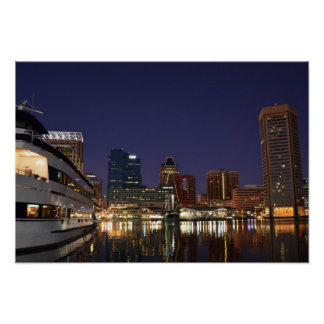 The Inner Harbor at Night Poster