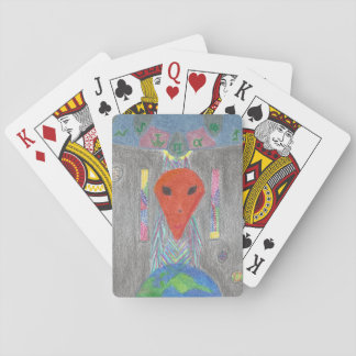 The Interaction UFO Earth and Alien Playing Cards