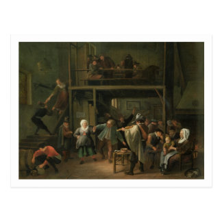 The Interior of a Tavern with a Couple Dancing to Postcard