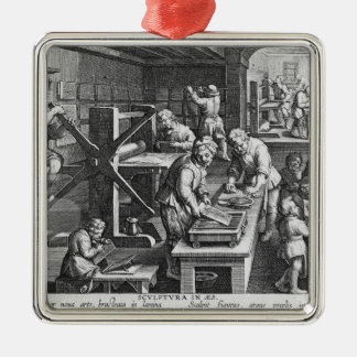 The Invention of Copper Engraving Metal Ornament