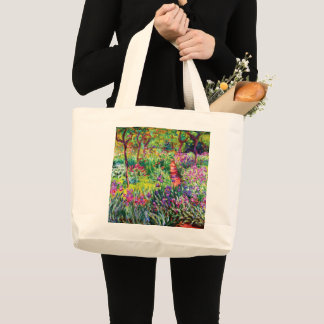 The Iris Garden at Giverny by Claude Monet Large Tote Bag