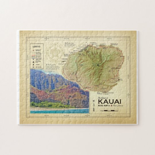 The Island of Kauai [vintage inspired] puzzle map