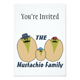 The Italian Mustachio Family 5x7 Paper Invitation Card