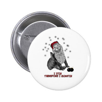 The Itching doG at Christmas 6 Cm Round Badge