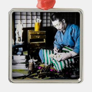The Ivory Carver Craftsman in Old Japan Vintage Silver-Colored Square Decoration