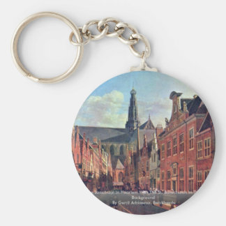 The Jansstraat In Haarlem With The St. Bavochurch Basic Round Button Key Ring