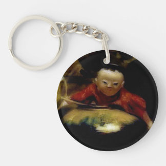 The Japanese Doll (detail) Double-Sided Round Acrylic Key Ring
