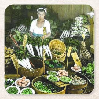 The Japanese Farmers Market Fall Harvest Vintage Square Paper Coaster
