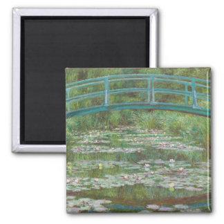 The Japanese Footbridge, 1899 (oil on canvas) Square Magnet