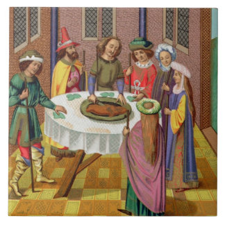 The Jews' Passover, facsimile of a 15th century mi Large Square Tile