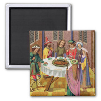 The Jews' Passover, facsimile of a 15th century mi Square Magnet