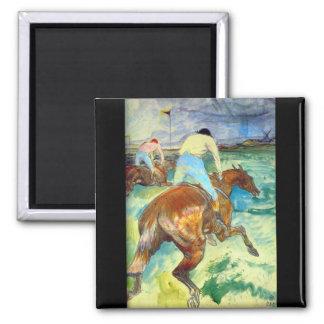 The Jockey by Henri De Toulouse Square Magnet