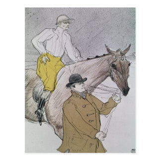 The jockey led to the start postcard