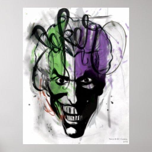 The Joker Neon Airbrush Portrait Posters